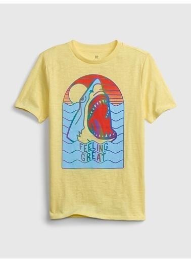 Gap Kısa Kollu Grafik T-Shirt Sarı